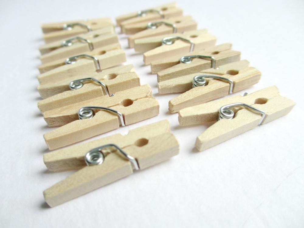 25 Mini Clothespins, Miniature Clothespins, Mini Clothes Clips, Mini Laundry Clips