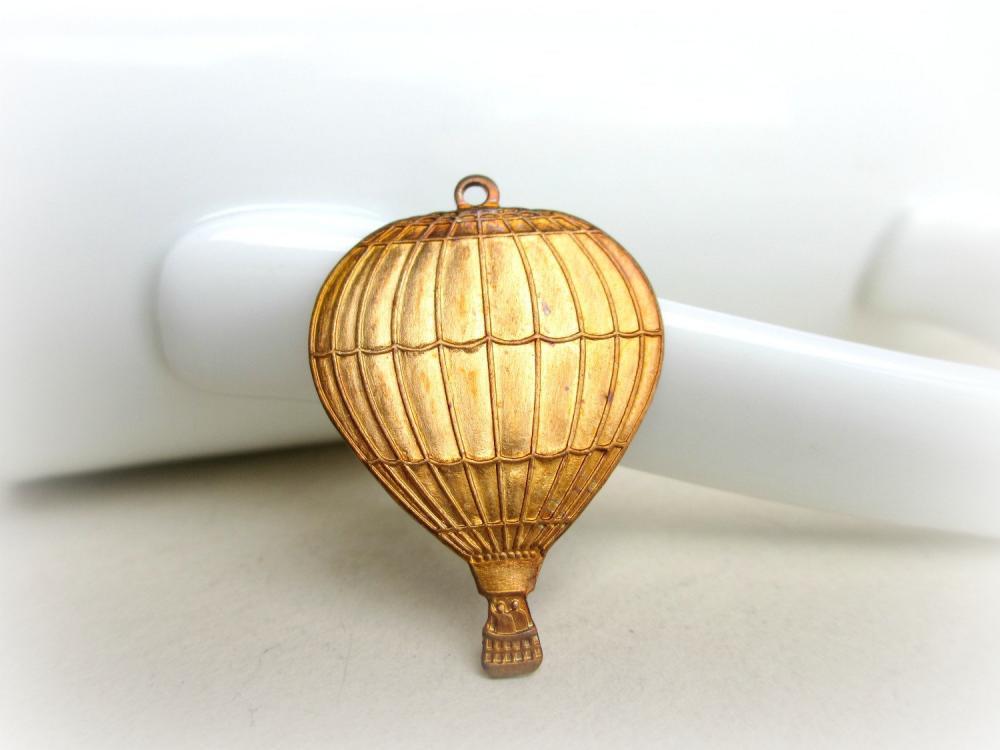 Gold Patina Hot Air Balloon Pendant, Hot Air Balloon Charm, Hot Air Balloon Pendant