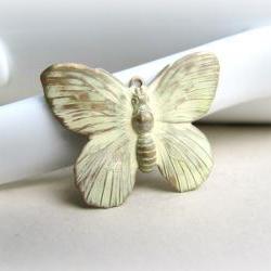 1 Cream Butterfly Pendant, Hand Patina Pendant