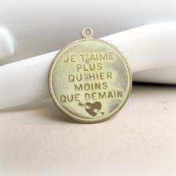 Hand Patina Cream French Pendant, Brass Pendant