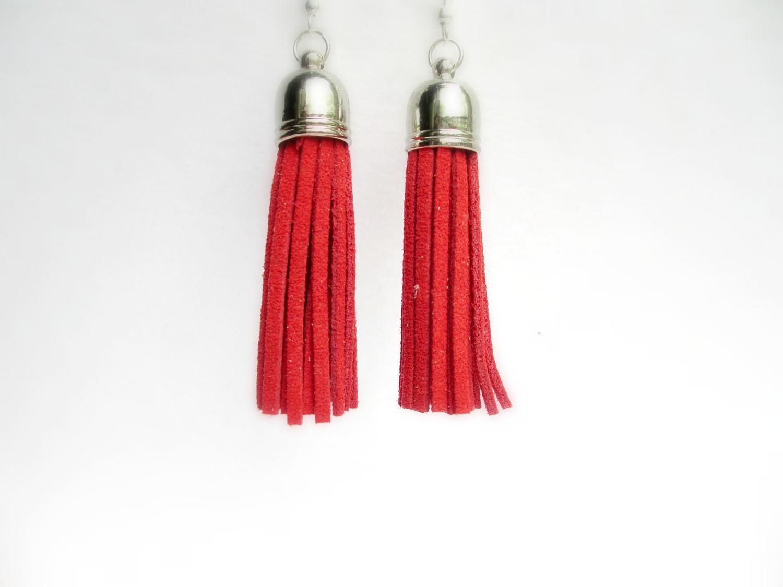 Red suede tassel earrings